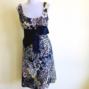 Kay Unger Floral Print Bow Cocktail Party Dress